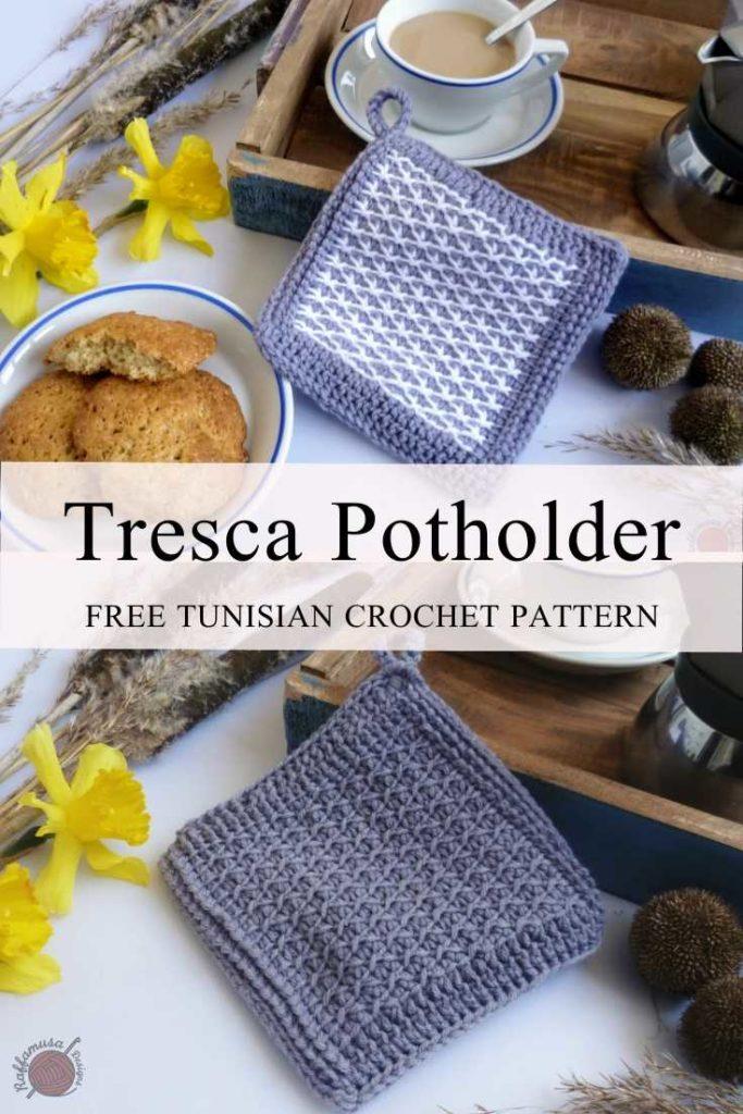 Tunisian Crochet Tresca Potholder