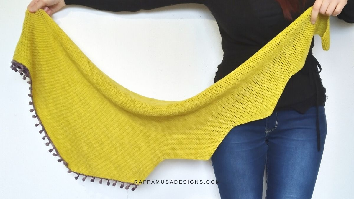 Tunisian Crochet Full Stitch Shawl - Lightning - Free Pattern - Raffamusa Designs