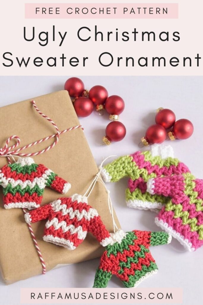 Ugly Christmas Sweaters - Christmas Tree Ornaments - Free Crochet Pattern