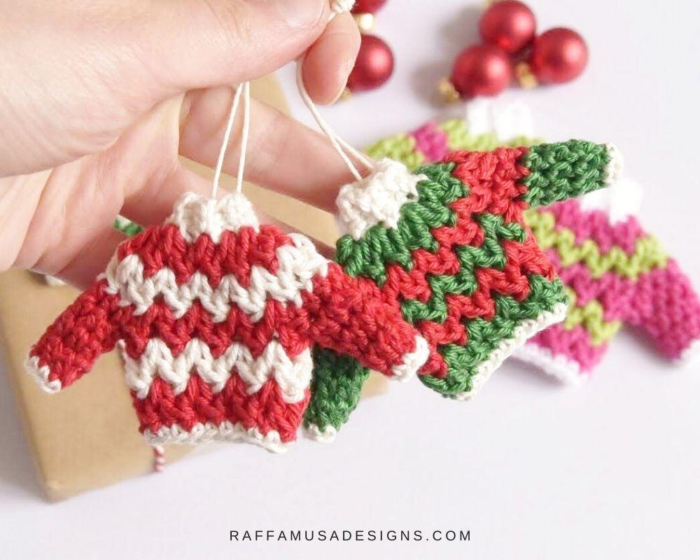 Ugly Christmas Sweater Crochet Ornament - Free Pattern by Raffamusa Designs