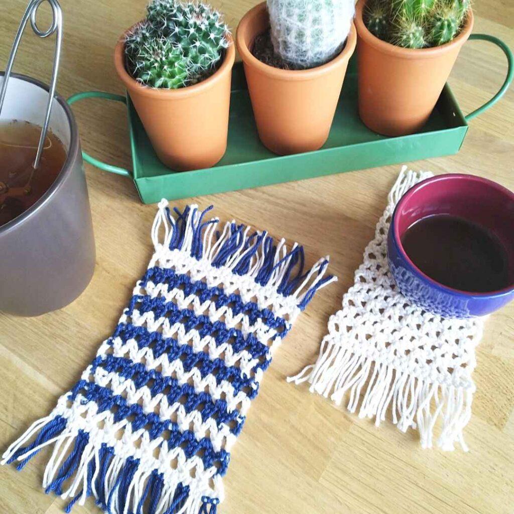 V-Stitch Boho Mug Rugs - Free Crochet Tutorial and Patterns