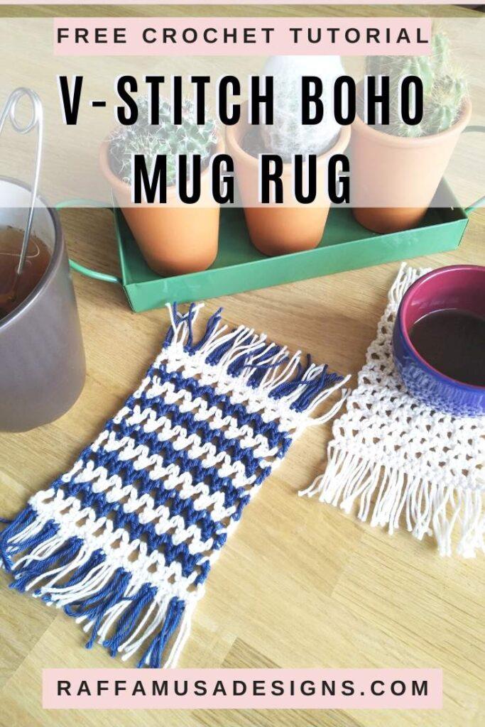 V-Stitch Boho Mug Rug - Free Crochet Tutorial and Patterns