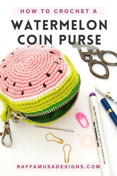How to Crochet a Watermelon Slice Zipper Purse - Free Pattern - Raffamusa Designs