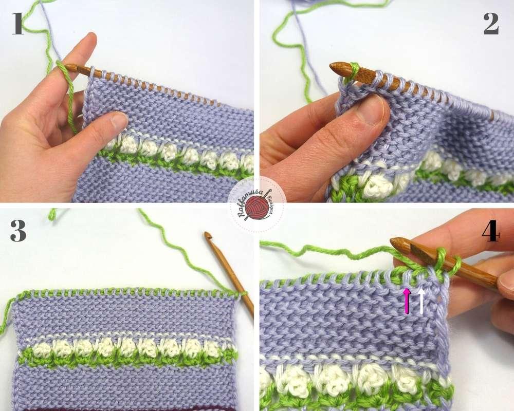 Tunisian Wild Flowers Stitch Tutorial, steps 1-4