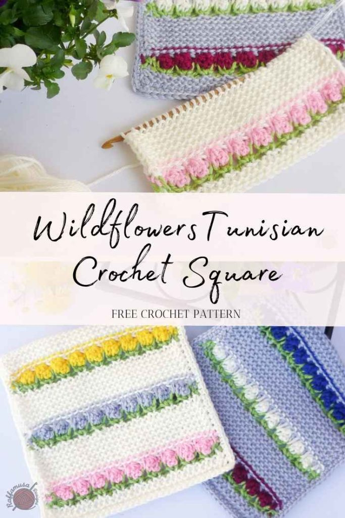 Wildflowers Tunisian Crochet Square - Free Pattern and Tutorial